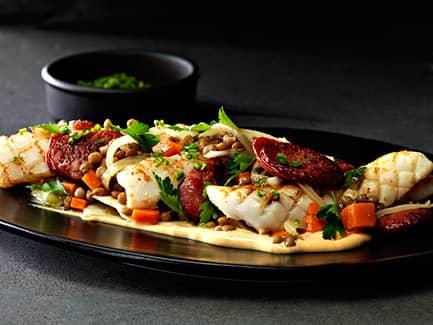 Squid, Chorizo, Fennel & Lentil Salad
