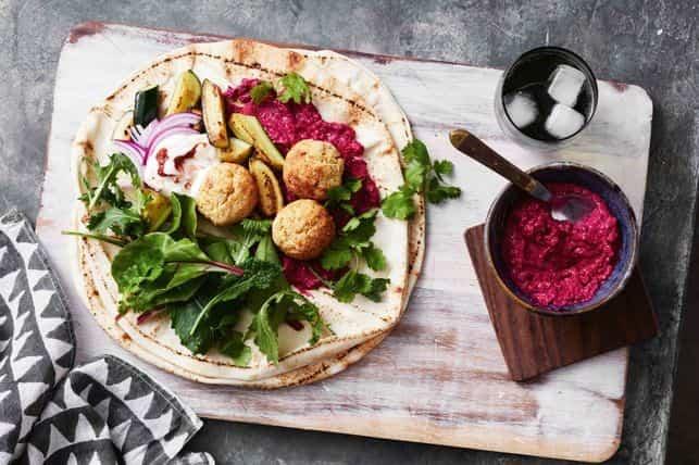 Falafel Wraps with Beetroot Hummus